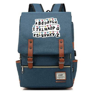 Stranger Things Backpack College School Bag Laptop Daypack(Black USB) - ACcosplay