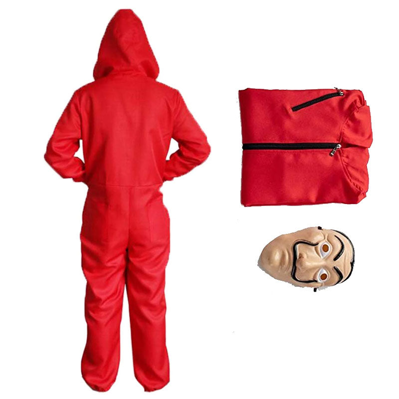 Unisex LA CASA De Papel Money Red Jumpsuit Hoodie with Mask Halloween Costume Kids Adults - ACcosplay