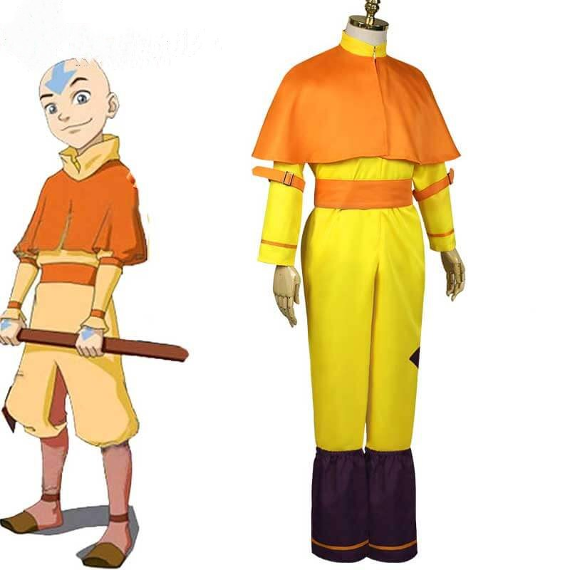 Adults Avatar The Last Airbender Cosplay Aang Cosplay Costume Yellow Jumpsuit Cloak Full Set Outfit