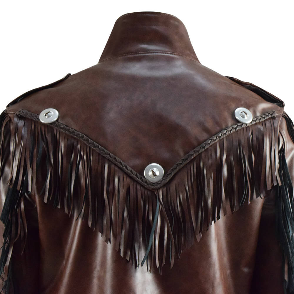 Tiger King Joe Exotic Brown Fringe Leather Jacket Halloween Cosplay Costume