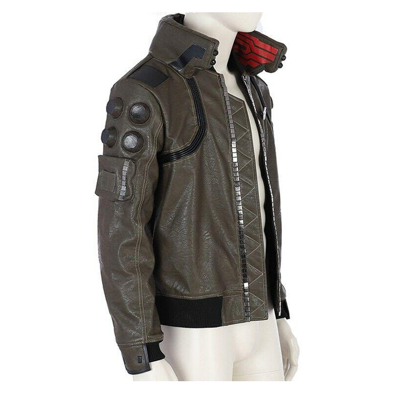 Cyberpunk 2077 Maul Cosplay Costume Men's Faux Leather Jacket For Sale