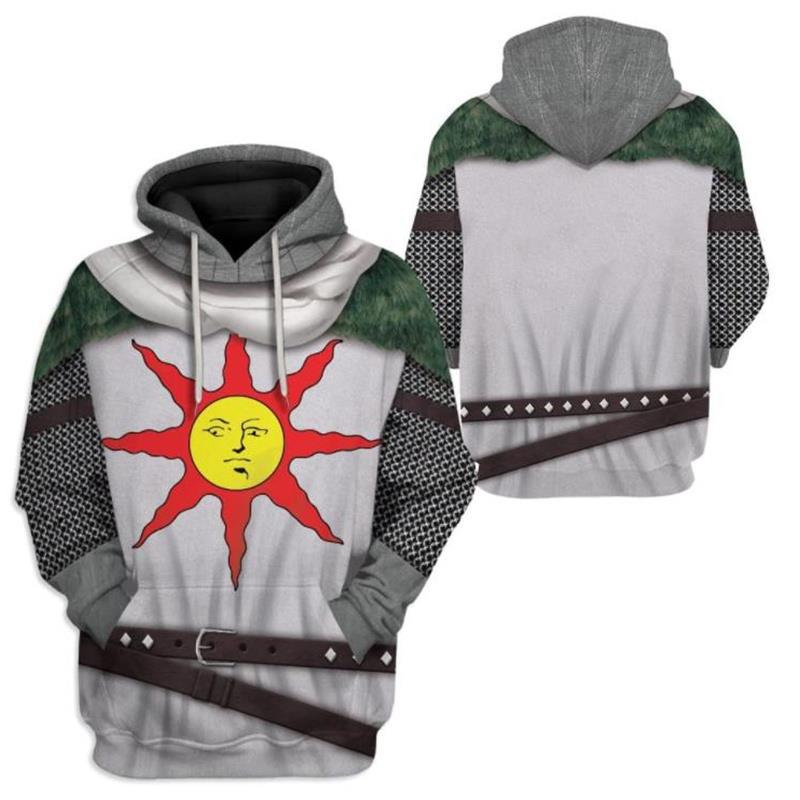 Adults Unisex Dark Souls Solaire Cosplay Praise The Sun 3D Print Zipper Hoodie Pullover Sweatshirt
