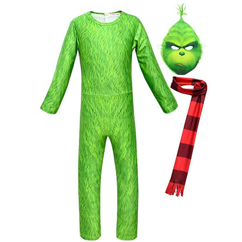 The Grinch Hoodie Shirt Mask Sweatshirt Suit Jumpsuit Cosplay Costume Kids Children