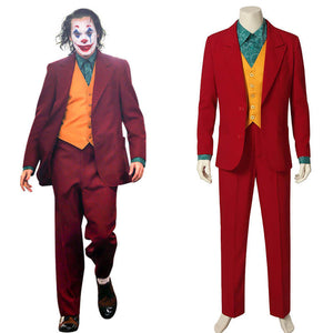 The Joker Clown Red Suit Outfit Uniform Cosplay Costume Men Halloween 2019