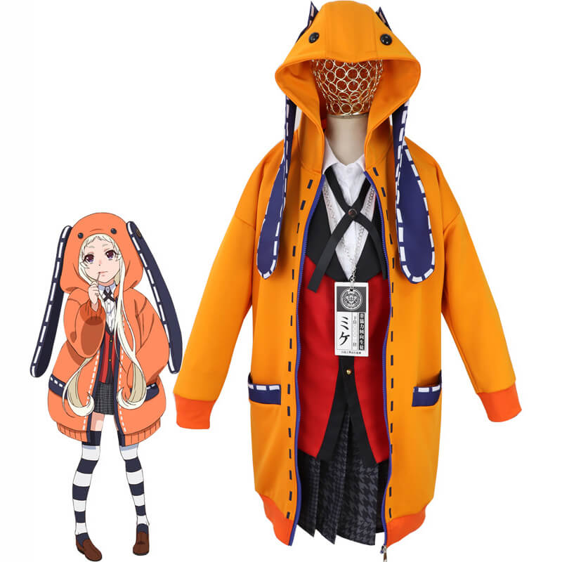 Kakegurui Yomoduki Runa Orange Rabbit Hoodie Jacket Cosplay Costume