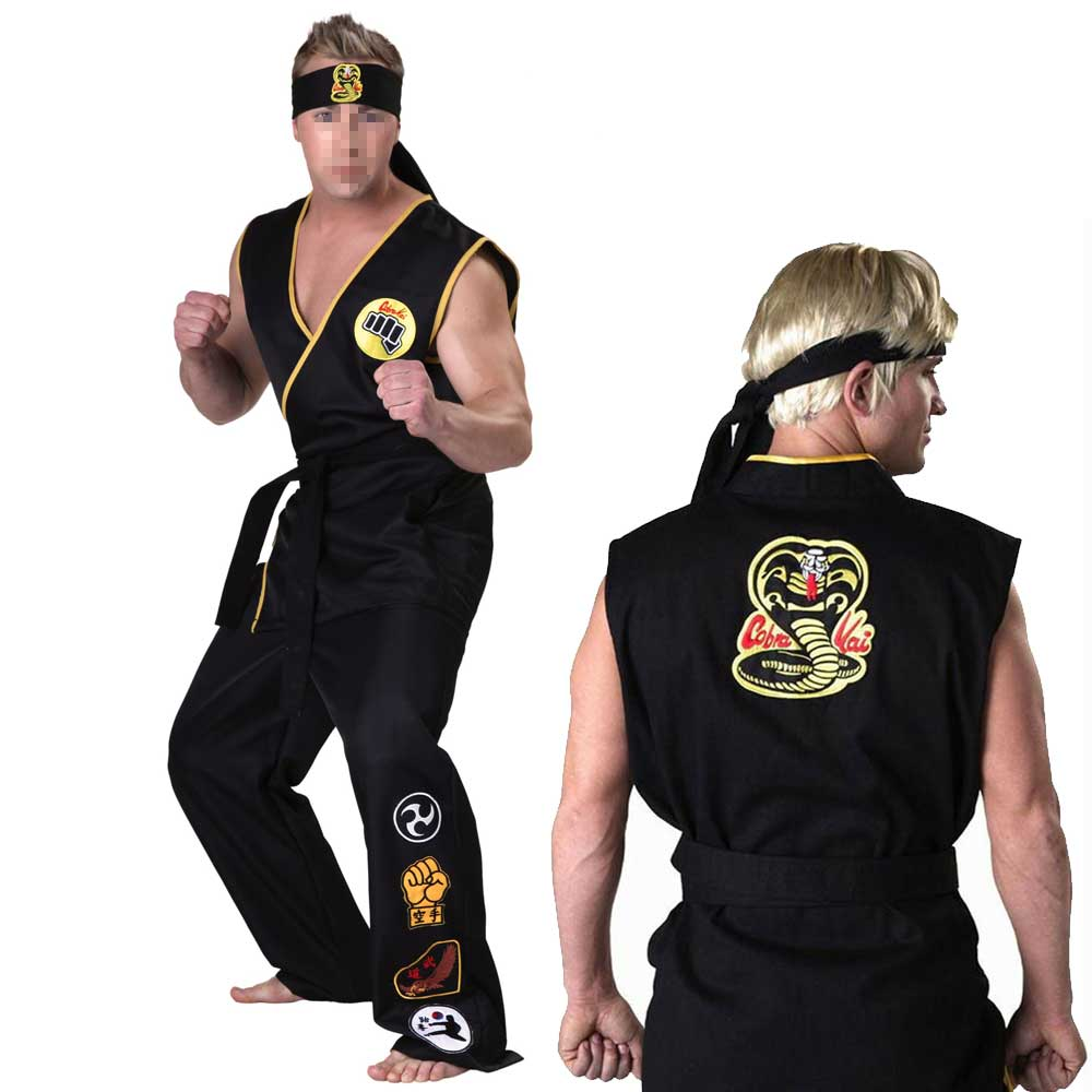 Karate Kid Cobra Kai Halloween Costume Sleeveless Shirt Pants Cosplay Jumpsuit