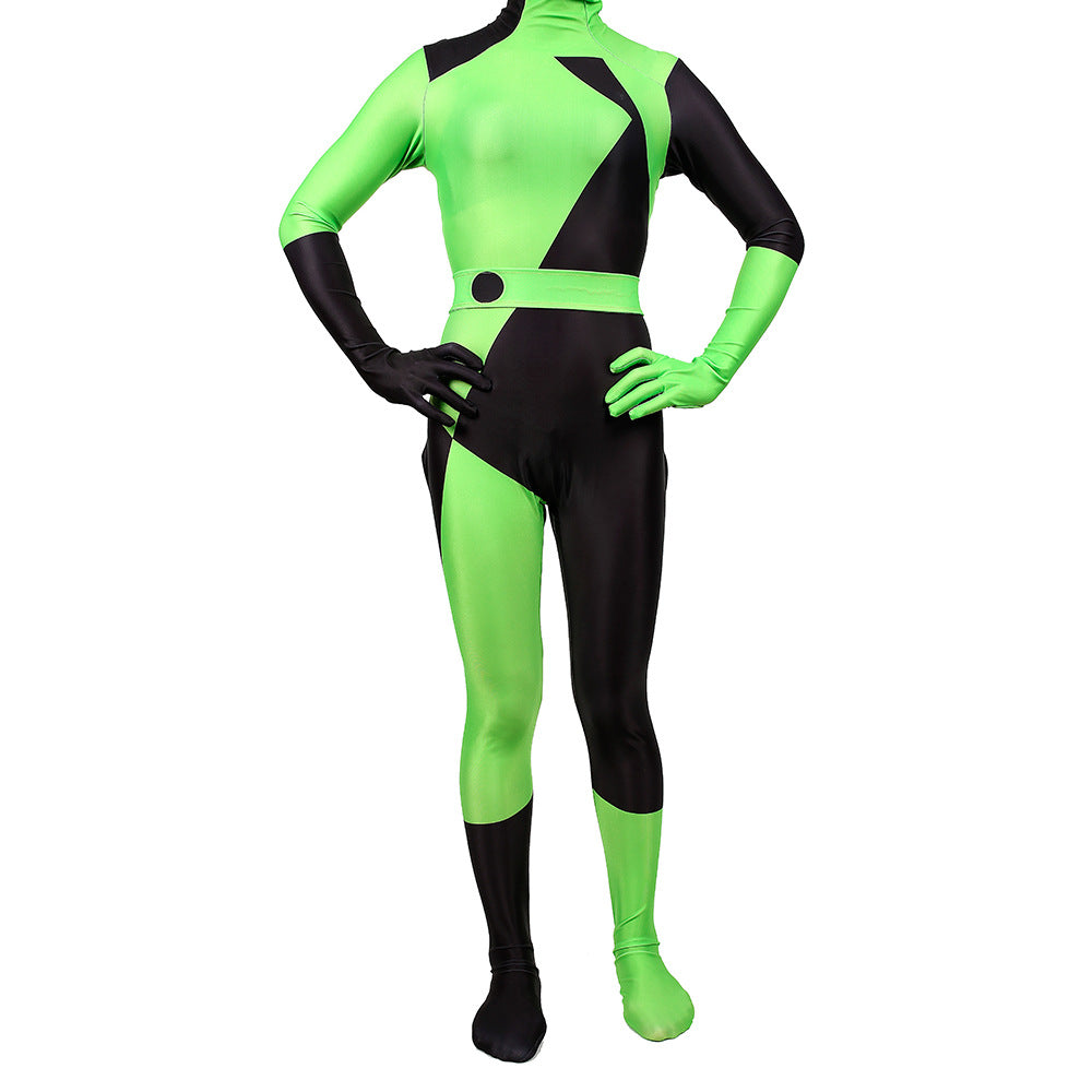 Kim Possible Shego Costume Jumpsuit Adults Halloween Costumes Bodysuit Green Cosplay