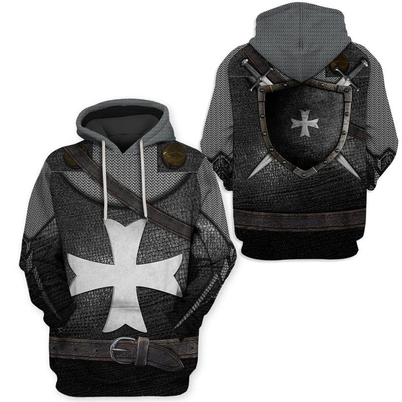 Knights Templar Hoodie Medieval Armor Crusader Cross 3D Hooded Jacket Pullover Sweatshirt