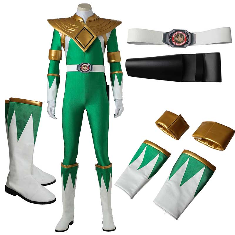 Mighty Morphin Power Rangers Costume Green Ranger Cosplay Jumpsuit Zentail Jumpsuit Zentai Bodysuit Boots Cosplay Adult