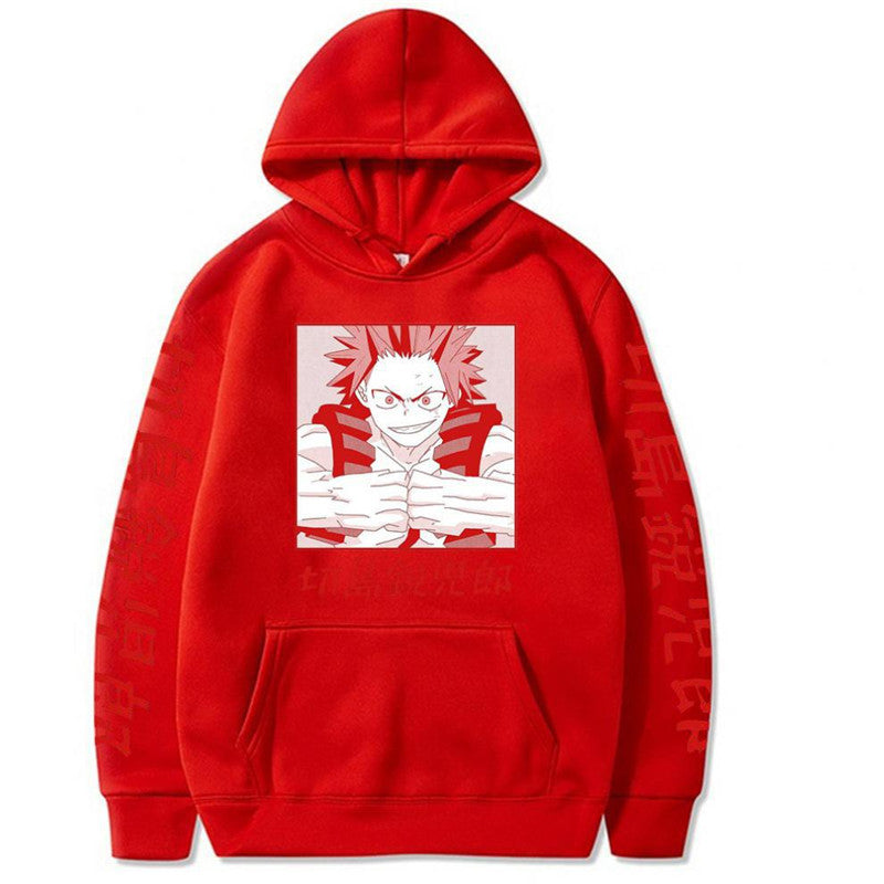 My Hero Academia Eijiro Kirishima Hoodie Sweatshirt Anime Hooded Pullover Sweater Jacket