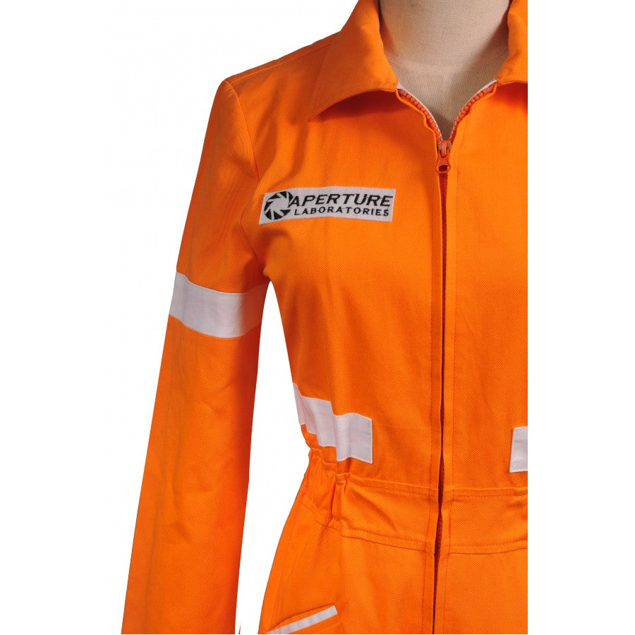 Adults Long Sleeve Portal 2 Chell's Jumpsuit Cosplay Costume Women Halloween