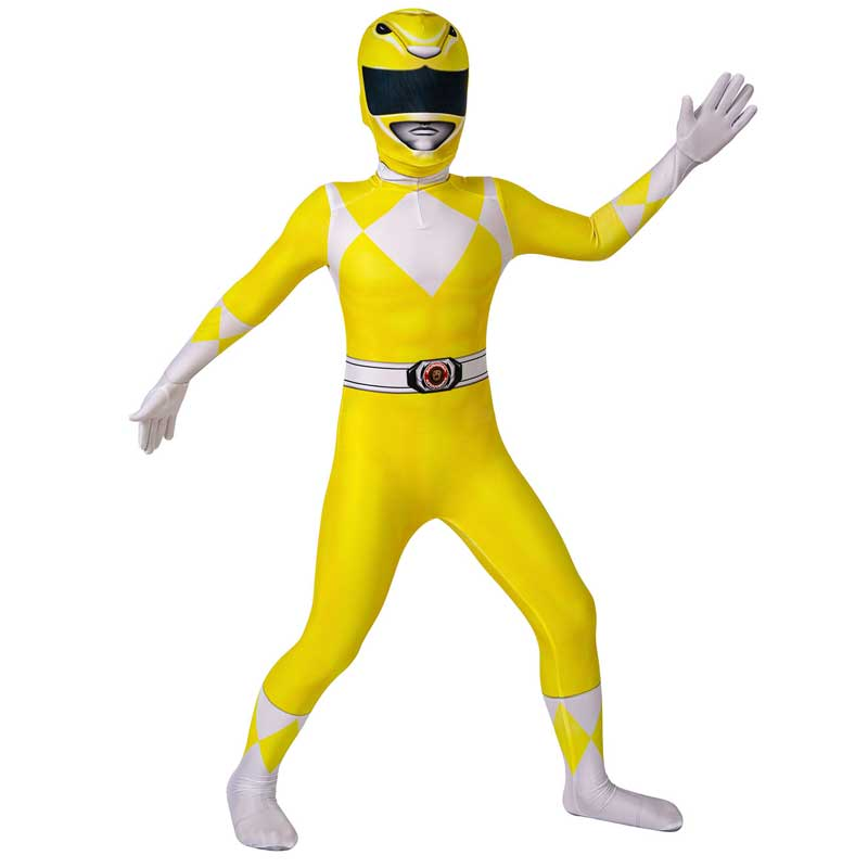 Kids Power Rangers Costume Yellow Ranger Cosplay Suit Zentai Jumpsuit