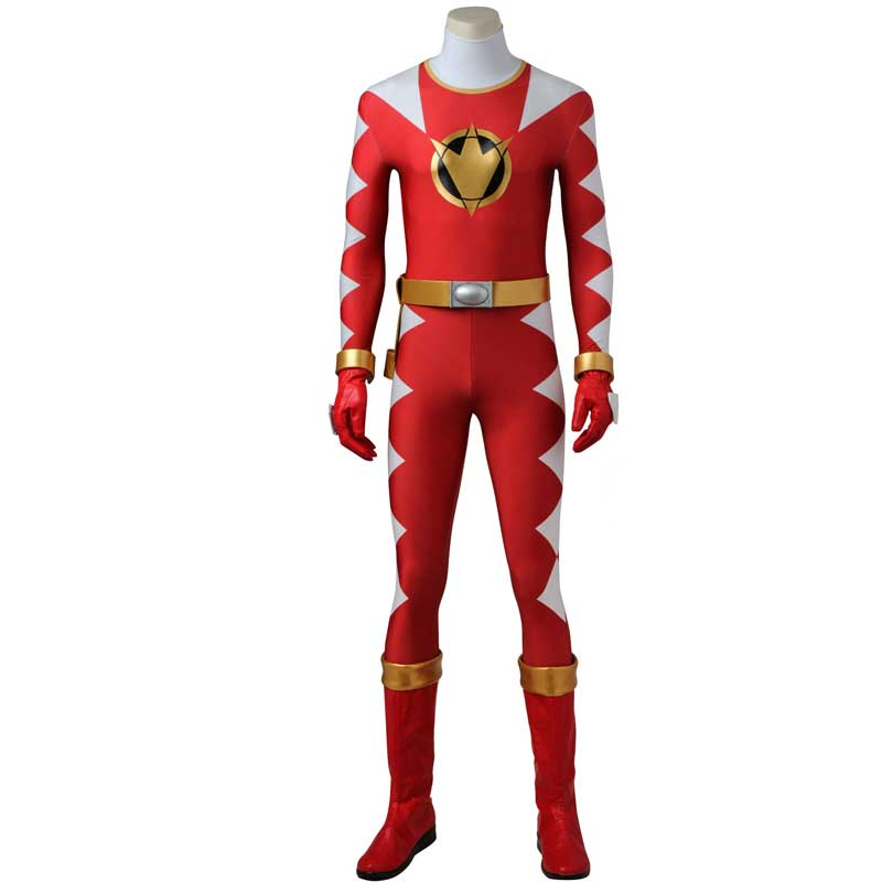 Power Rangers Costume Dino Thunder Red Dino Ranger Onesies Jumpsuit Zentai Bodysuit Boots Cosplay Adult