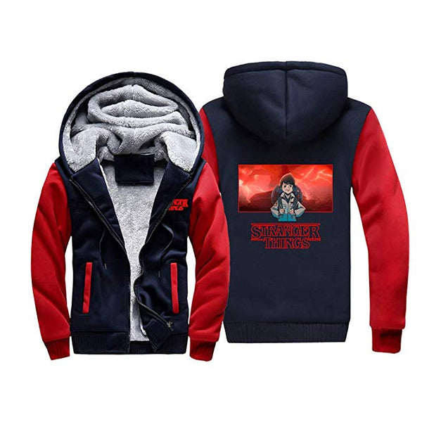 Stranger Things Jacket Fleece Hoodie Zipper Sweatshirt Jacket for Teen and Men - ACcosplay