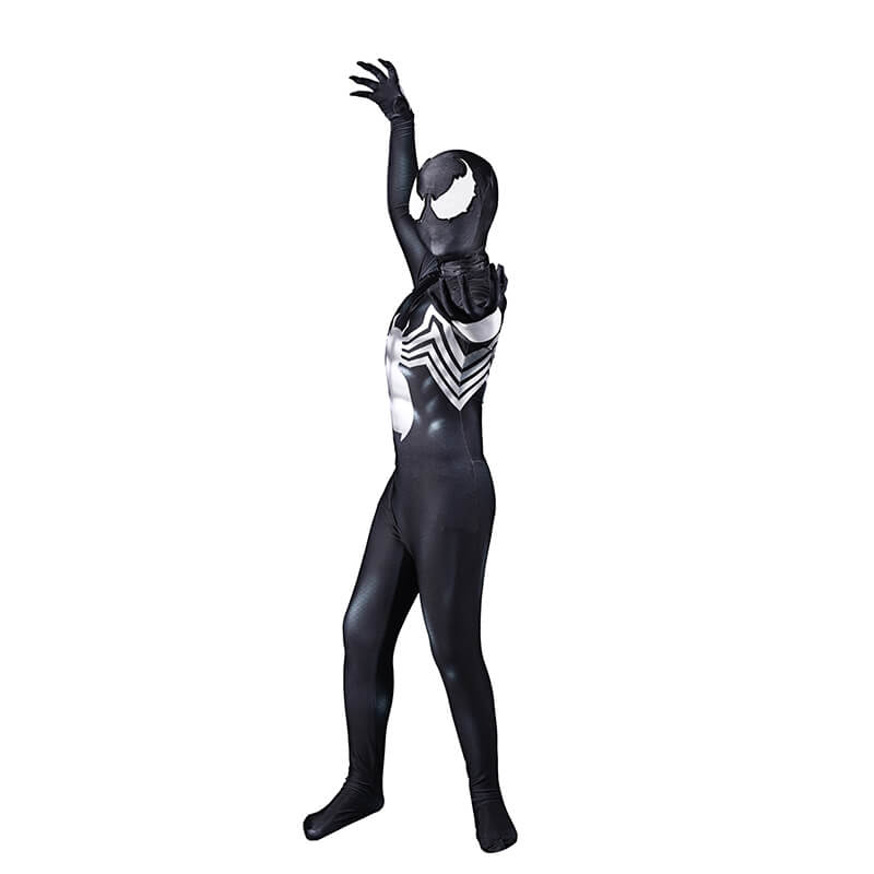 Venom Spiderman Costume Black Tight Jumpsuit Halloween Cosplay Adults Kids - ACcosplay