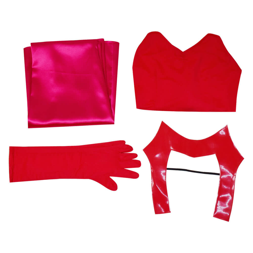 WandaVision Scarlet Witch Halloween Costume Wanda Maximoff Cosplay Red Jumpsuit Bodysuit