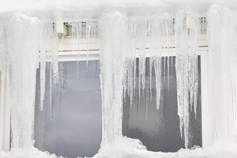 Icicles covering home window