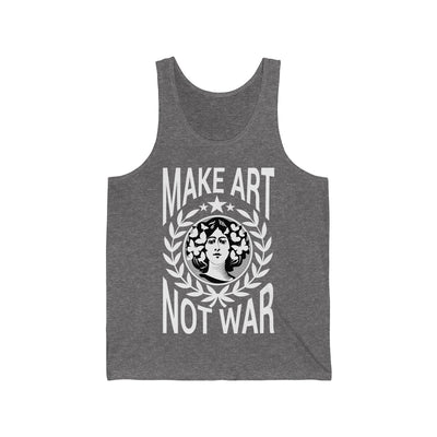 Heather grey tank top white lettering image picture stating MAKE ART NOW WAR on white background