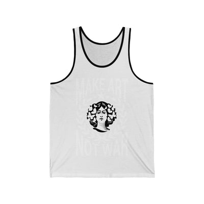 White lettering on white Tank top With black pin stripe lady with flowers in hair