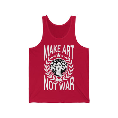 Bright Red Tank top from anxiety supplements featuring white print of flower girl stating MAKE ART NOT WAR
