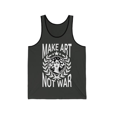 Black tank top with jersey black lining tank top printed with words Make Art not war with white background