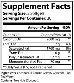 Back of bottle of 30 count anxiety supplements coconut oil softgels