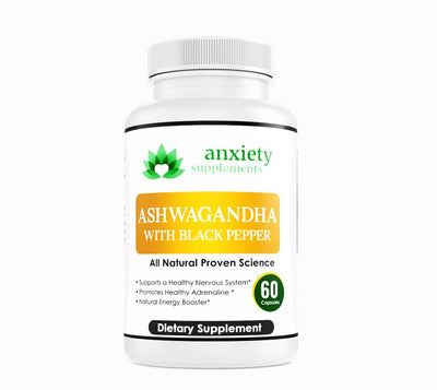 Anxiety Supplements- Ashwagandha White Bottle 30 count 1 month supply-