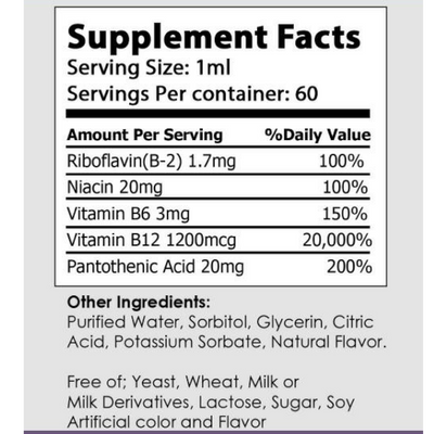 Anxiety Natural Supplements B12 Bottle label  showing ingredients of b12 natural drops to help anxiety