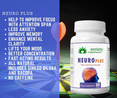 30 count white bottle of Nuero focus showing benefits and ingredients.