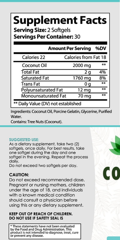 Bottle label of anxiety supplements coconut oil softgels 30 count bottle. Instructions