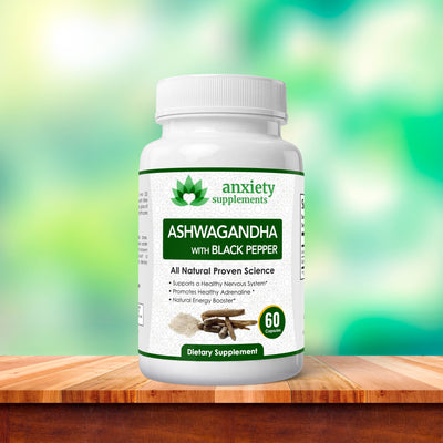 Anxiety Supplements- Bottle of Ashwagandha all-natural 30 count bottle