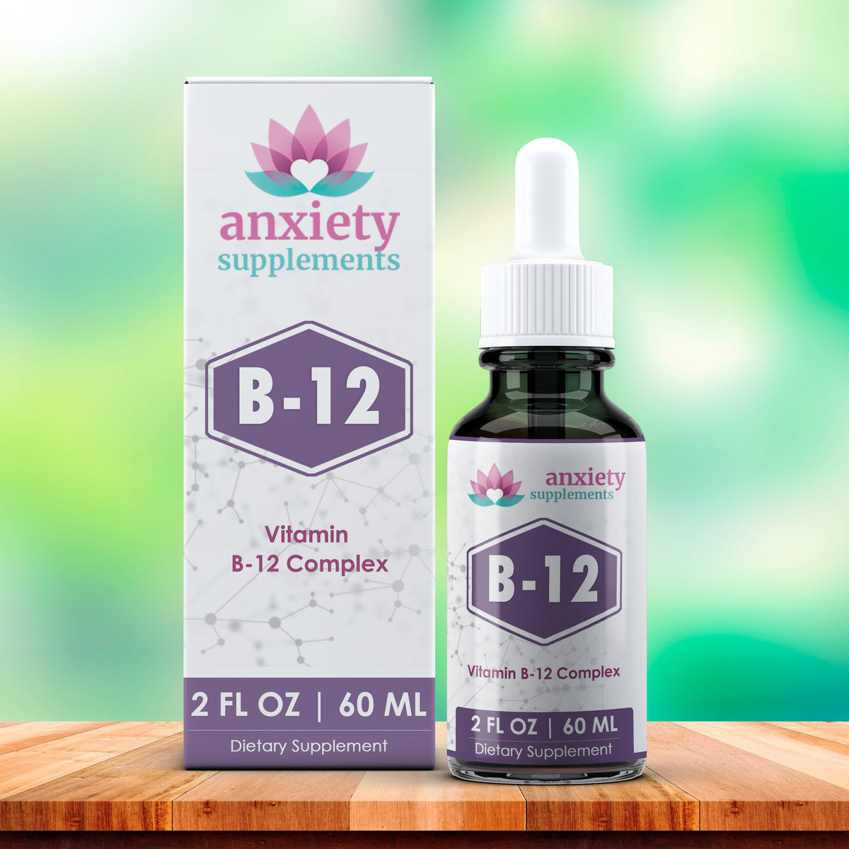 B12 drops for anxiety 2 fl oz bottle and box with green gradient background on colorful wood table