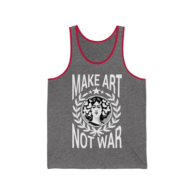 Heather grey and red pinstripe tank top make art not war printed design from anxiety supplements