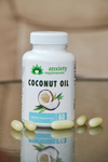 white reflection background with coconut anxiety supplement softgels