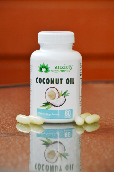 Orange and wood background with anxiety supplements coconut softgel 30 count bottle