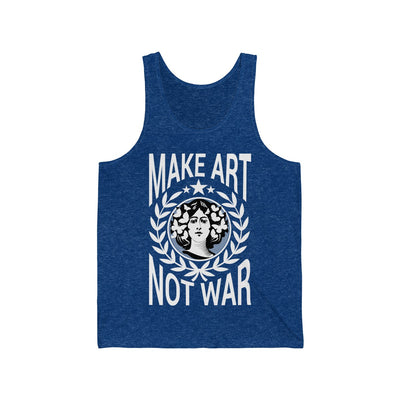 Dark Jersey Blue Tanktop With Flower girl and white letters MAKE ART NOT WAR tanktop from Anxiety supplements for $18.40 S-XL