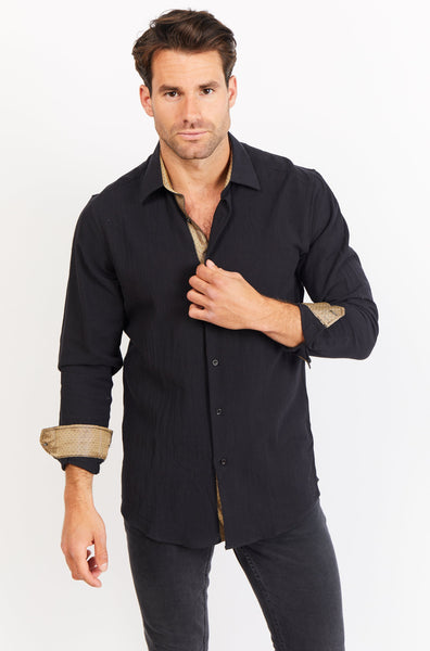 Adam Coal Black Long Sleeve Button Up Shirt Blanc