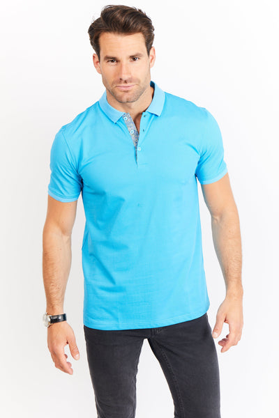 Adam Turquoise Blue Short Sleeve Polo Shirt Blanc