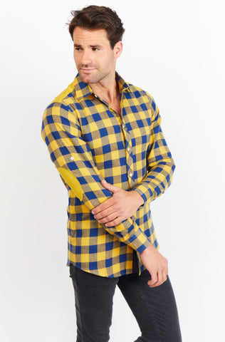 Alden Checkered Long Sleeve Button Up Shirt Blanc