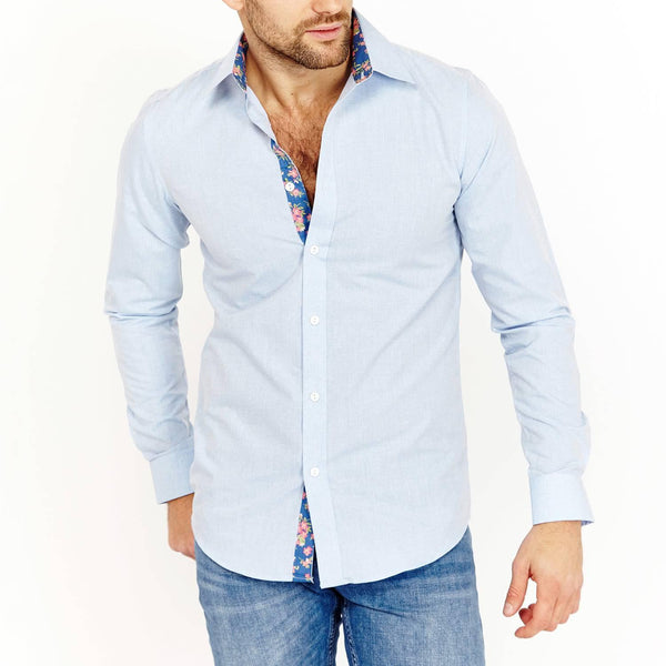 Alexander Cerulean Blue Long Sleeve Button Up Shirt Blanc