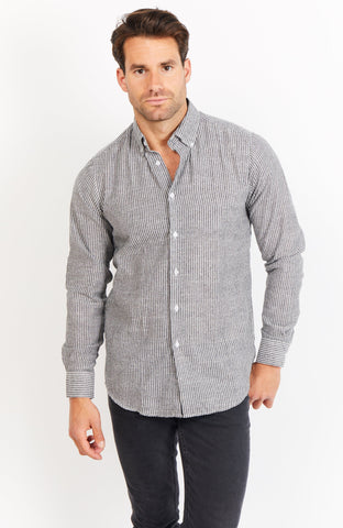 Alfred Gray Long Sleeve Button Up Shirt Blanc