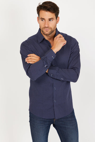 Andrew Ink Blue Long Sleeve Button Up Shirt Blanc