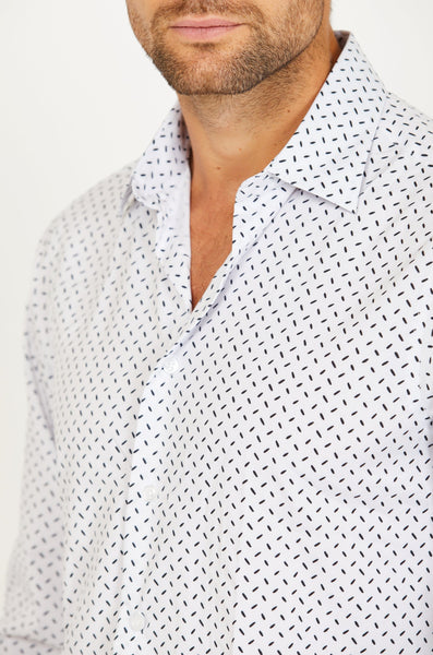Anthony White Long Sleeve Button Up Shirt Blanc