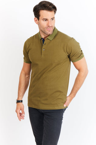 Arthur Army Green Short Sleeve Polo Shirt Blanc