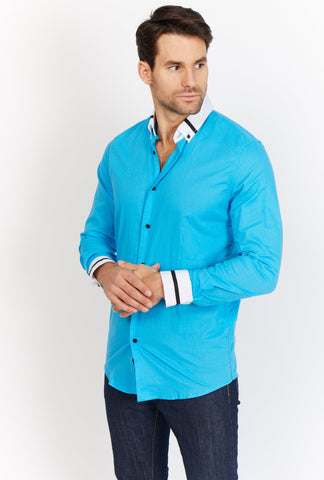 Augustine Sapphire Blue Organic Button Up Blanc