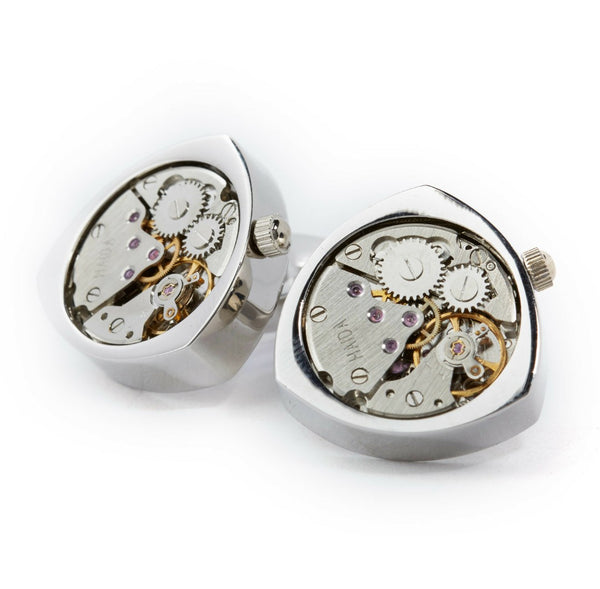 BOND WATCH CUFFLINKS // SILVER Blanc