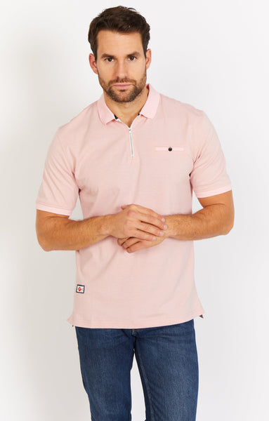 Apricot Zip Collar Polo Shirt Blanc
