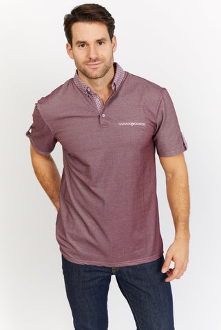 Caleb Purple Organic Polo Shirt Blanc