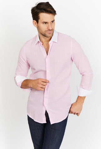 Carter Shell Pink Long Sleeve Button Up Shirt Blanc