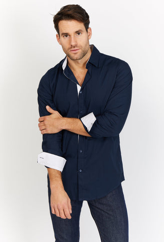 Charles Navy Organic Button Up Blanc